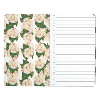 Modelo blanco rosado de la camelia cuaderno grapado