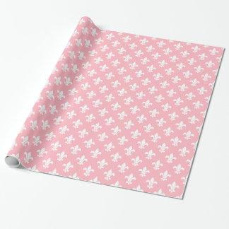 Modelo blanco rosado de la flor de lis papel de regalo