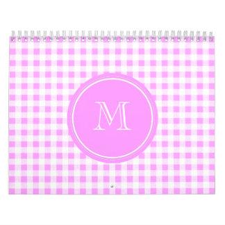 Modelo blanco rosado de la guinga, su monograma calendarios