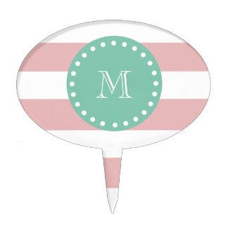 Modelo blanco rosado de las rayas, monograma de la palillos de tarta