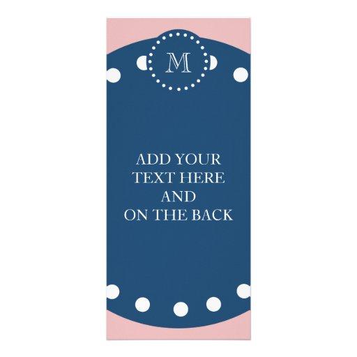 Modelo blanco rosado de las rayas, monograma de lo tarjeta publicitaria