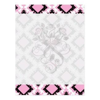 modelo blanco rosado intrépido del damasco del dia postales