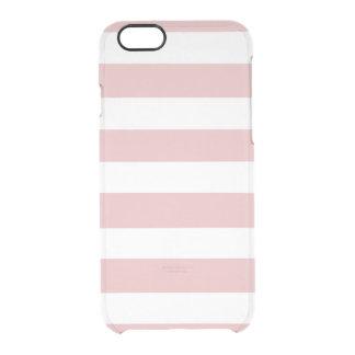 Modelo blanco rosado moderno de las rayas funda clear para iPhone 6/6S