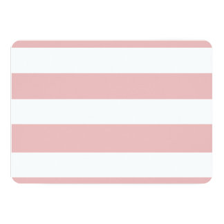 Modelo blanco rosado moderno de las rayas invitación 12,7 x 17,8 cm