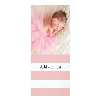Modelo blanco rosado moderno de las rayas invitación 10,1 x 23,5 cm