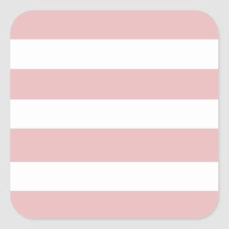 Modelo blanco rosado moderno de las rayas pegatina cuadrada