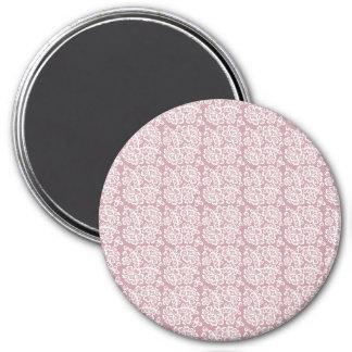 Modelo blanco rosado oscuro bonito del cordón imán redondo 7 cm