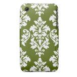 Modelo blanco verde del damasco del vintage iPhone 3 Case-Mate carcasas