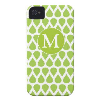 Modelo blanco verde del monograma iPhone 4 fundas