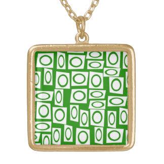 Modelo blanco verde loco del cuadrado del círculo collares personalizados