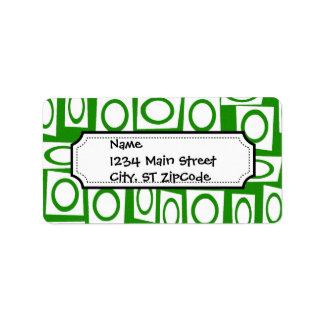 Modelo blanco verde loco del cuadrado del círculo etiquetas de dirección