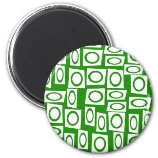 Modelo blanco verde loco del cuadrado del círculo imán redondo 5 cm