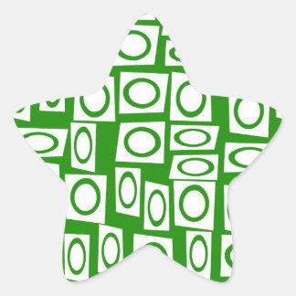 Modelo blanco verde loco del cuadrado del círculo pegatina en forma de estrella