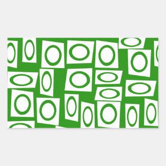 Modelo blanco verde loco del cuadrado del círculo pegatina rectangular