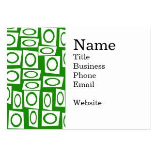 Modelo blanco verde loco del cuadrado del círculo tarjetas de visita grandes