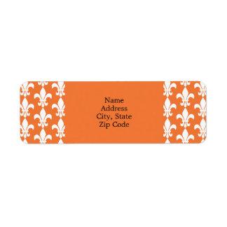 Modelo blanco y anaranjado de la flor de lis etiquetas de remite