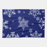 Modelo blanco y azul de los copos de nieve toalla