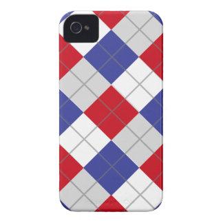 Modelo blanco y azul rojo de Argyle iPhone 4 Case-Mate Fundas