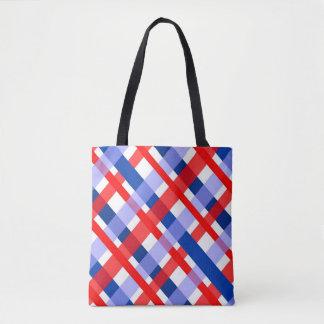 modelo blanco y azul rojo de la tela escocesa bolsa de tela