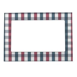 Modelo blanco y azul rojo de la tela escocesa marcos magneticos para fotos