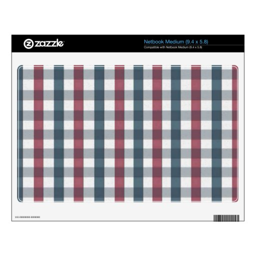 Modelo blanco y azul rojo de la tela escocesa calcomanía para netbook