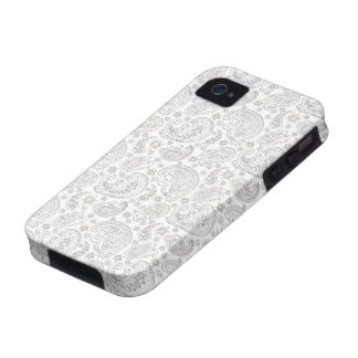 Modelo blanco y gris claro de Paisley del vintage Vibe iPhone 4 Fundas