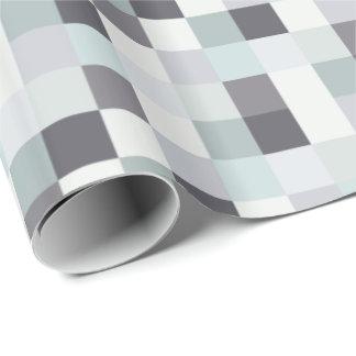 Modelo blanco y gris de Pixelated Papel De Regalo