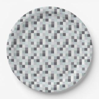 Modelo blanco y gris de Pixelated Platos De Papel