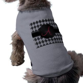 Modelo blanco y gris del monograma del argyle camiseta sin mangas para perro