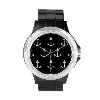 Modelo blanco y negro 1 de las anclas relojes de pulsera