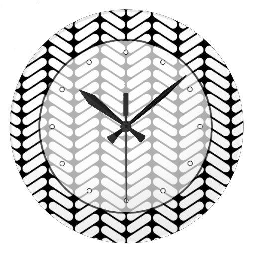 Modelo blanco y negro de Chevron, como hacer punto Relojes De Pared