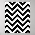 Modelo blanco y negro de Chevron del zigzag Posters