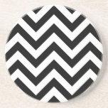 Modelo blanco y negro de Chevron del zigzag Posavasos Manualidades