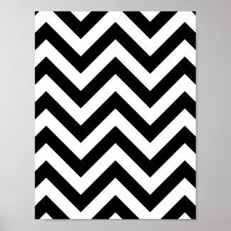 Modelo blanco y negro de Chevron del zigzag Póster