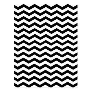 Modelo blanco y negro de Chevron del zigzag Tarjeta Postal