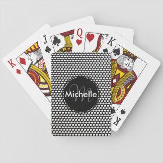 Modelo blanco y negro de encargo del círculo cartas de juego
