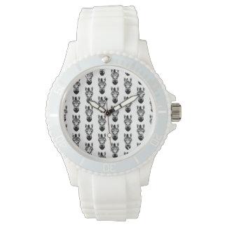 Modelo blanco y negro de la cebra relojes de mano