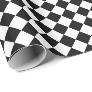 Modelo blanco y negro de la forma del diamante papel de regalo