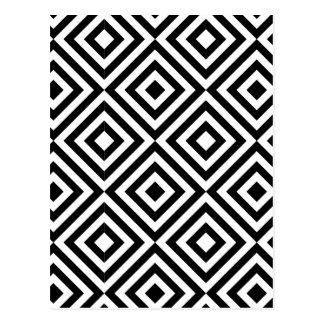 Modelo blanco y negro de la forma del diamante postal