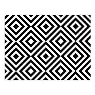 Modelo blanco y negro de la forma del diamante postales