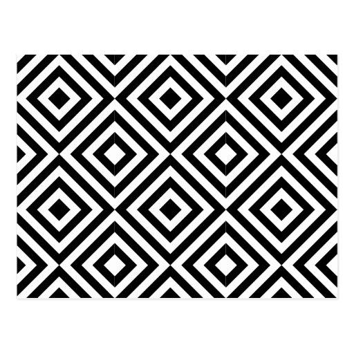 Modelo blanco y negro de la forma del diamante tarjeta postal