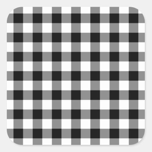 Modelo blanco y negro de la guinga pegatina cuadradas personalizadas