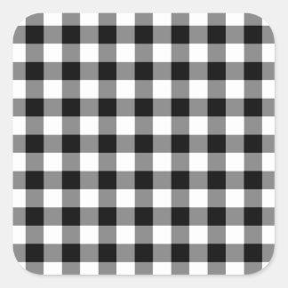 Modelo blanco y negro de la guinga pegatina cuadrada