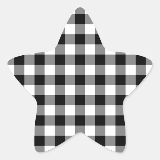 Modelo blanco y negro de la guinga pegatina en forma de estrella