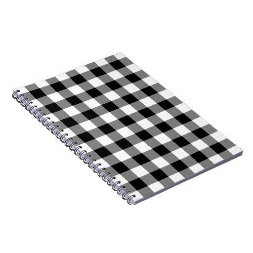 Modelo blanco y negro de la guinga spiral notebook