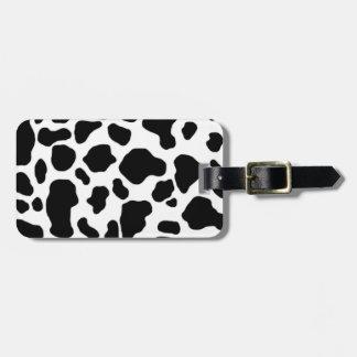 modelo blanco y negro de la impresión de la vaca etiqueta para equipaje