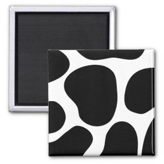 Modelo blanco y negro de la impresión de la vaca imán cuadrado