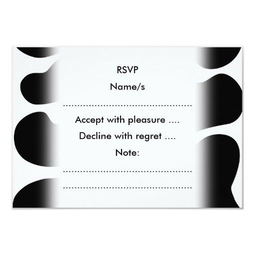 """Modelo blanco y negro de la impresión de la vaca invitación 3.5"""" x 5"""""""