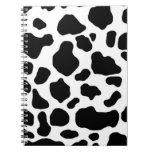 modelo blanco y negro de la impresión de la vaca libros de apuntes