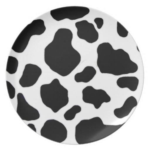 modelo blanco y negro de la impresión de la vaca plato de comida